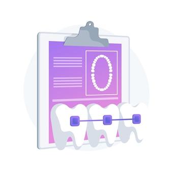 치과 교정기 추상적 인 개념 벡터 일러스트 레이 션. 치과 절차, 교정기 교정 방법, 밀집된 치아 치료, 교정 문제, 치아 정렬 기 및 유지 기, 브래킷 추상 은유.