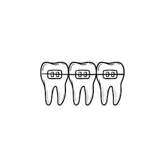 Dental braces hand drawn outline doodle icon. dentistry, stomatology and orthodontist concept
