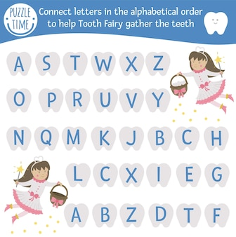 Dental care abc game with cute characters. dentist medicine alphabet activity for preschool children. choose letters from a to z to help tooth fairy gather teeth. simple mouth hygiene game for kids