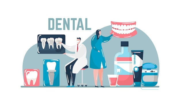 Dental care about tooth, stomatological treatment, vector illustration. dentist man woman character use medical equipment for teeth health. flat dentistry clinic concept, toothpaste and brush.
