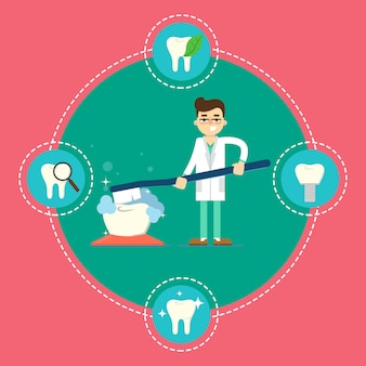 Dental care banner with dentist and toothbrush