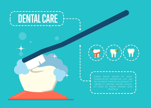 Dental care banner with tooth and toothbrush