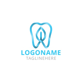 Dental care blue leaf logo design