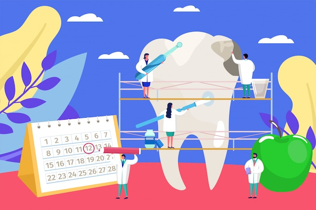 Dental care , cartoon tiny doctors people at work, dentist checkup examination for tooth problem background