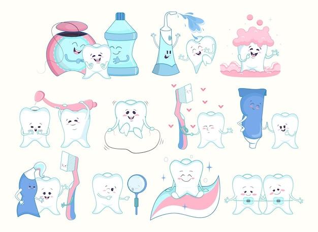 デンタルケアコレクション。歯、歯磨き粉、デンタルフロス、歯科医のツールは、白で隔離された顔と感情を持つキャラクターを漫画します。