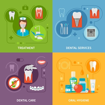 Dental care concept elements set