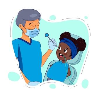 歯科治療の概念が示されています 無料ベクター