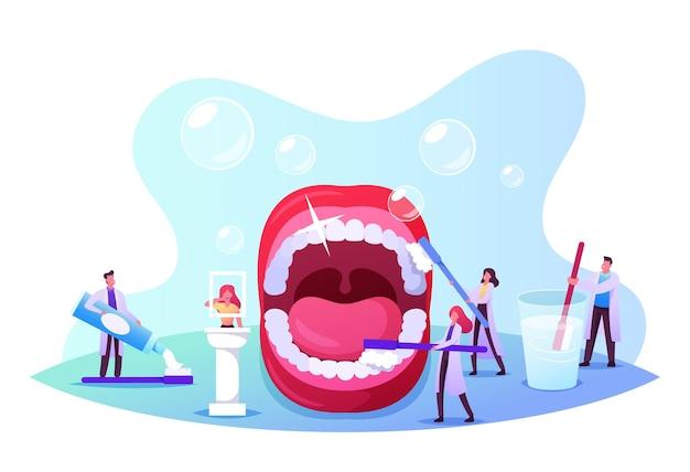デンタルケアコンセプト。小さな歯科医のキャラクターが口を開けて巨大な歯を掃除してブラッシングします。医者は歯磨き粉を使用します。ヘルスケア、経口治療プログラム、健康診断。漫画の人々のベクトル図