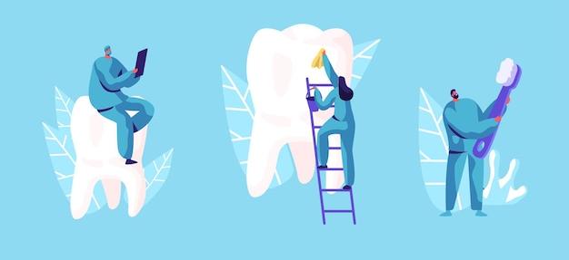 치과 치료 개념. 의료용 가운 청소 및 거대한 이빨 닦기의 작은 치과 의사 캐릭터. 만화 평면 그림