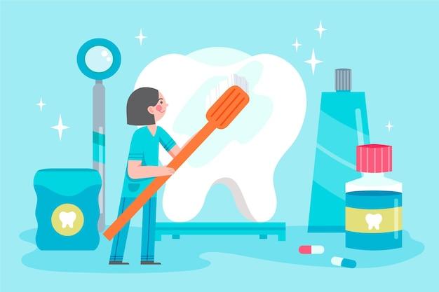 치과 의사와 치과 치료 개념