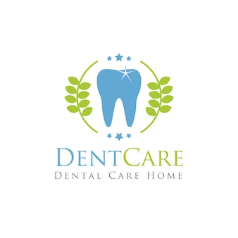 Dental care dentist logo with blue tooth and green leaves badge