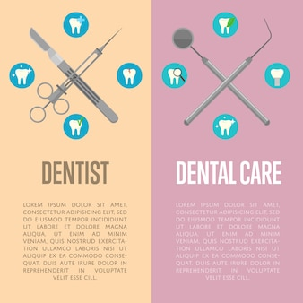 Dental care and dentist vertical flyers