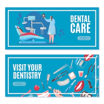Dental care and dentistry banners set with doctor and patient in chair doing tooth x-ray  illustration.