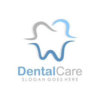 Dental care and dentistry logo design template
