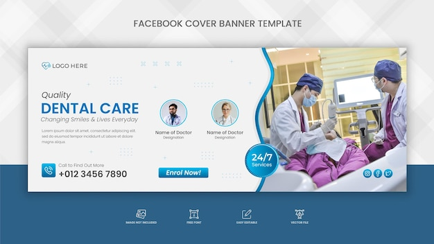 Dental care facebook cover template