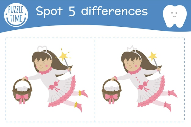Dental care find differences game for children. mouth hygiene preschool activity with cute tooth fairy milk tooth loss puzzle with cute funny smiling characters for kids.