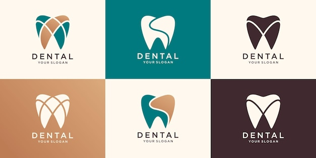 Dental care icon logo template
