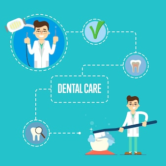 Dental care illustration with dentist and toothbrush