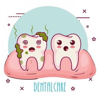 Dental care kawaii characters Free Vector