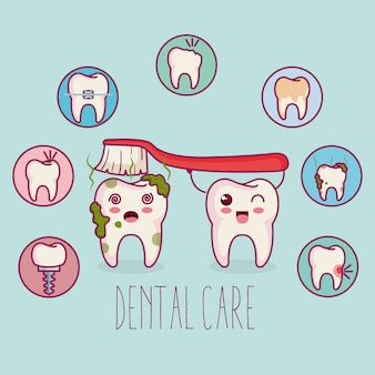 Dental care kawaii comi character