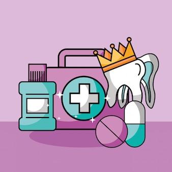 Dental care kit mouthwash tooth crown medication