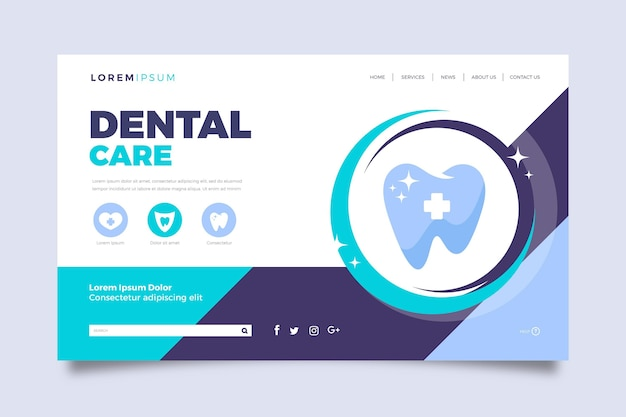 Dental care landing page template flat design