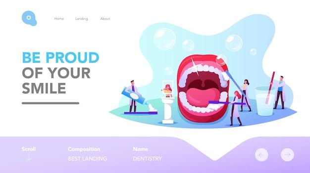 치과 진료 방문 페이지 템플릿입니다. 작은 치과의사들이 입을 벌리고 큰 치아를 닦고 닦습니다. 의사는 치약을 사용합니다. 건강 관리, 구강 검진. 만화 사람들 벡터 일러스트 레이 션