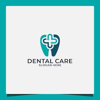 Dental care logo design template for health companies or dental care communities