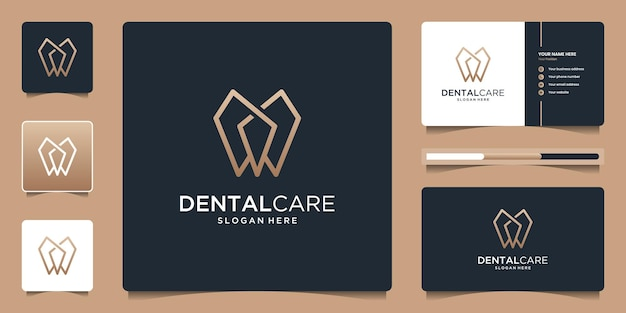Dental care logo with simple line logo design and business card