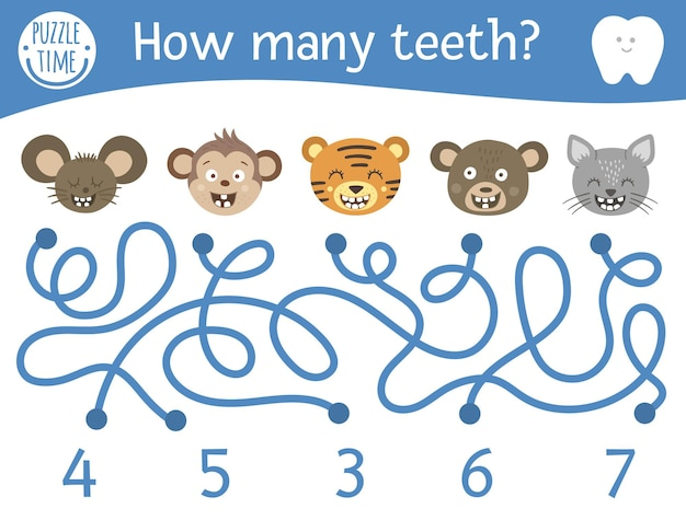 Dental care maze for children. preschool math activity with toothy animals. funny puzzle game with cute mouse, monkey, cat, bear, tiger. counting labyrinth for kids. how many teeth