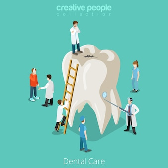 Dental care micro dentist patient people and huge tooth healthcare concept