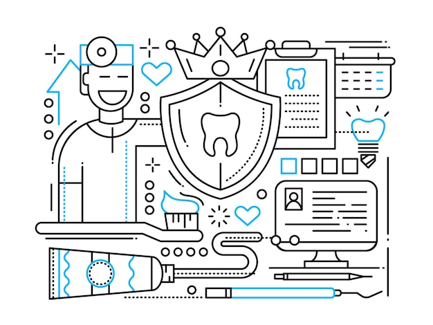 Стоматологическая помощь - иллюстрация простой линии с инструментами для ухода за зубами и стоматологом