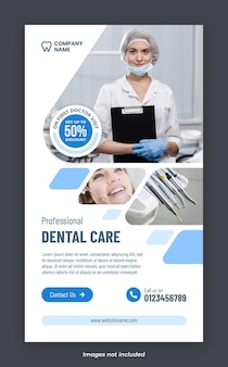 Dental care services instagram story banner template