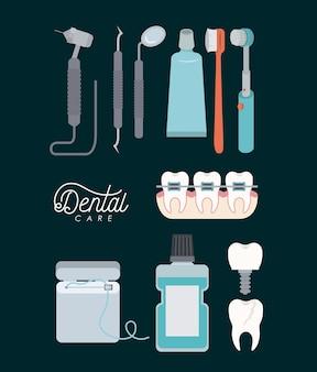 Dental care set on color background