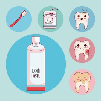 Dental care set icons