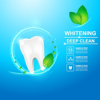 Dental care and teeth on background