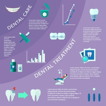Dental care and treatment with accessories tools and symbols