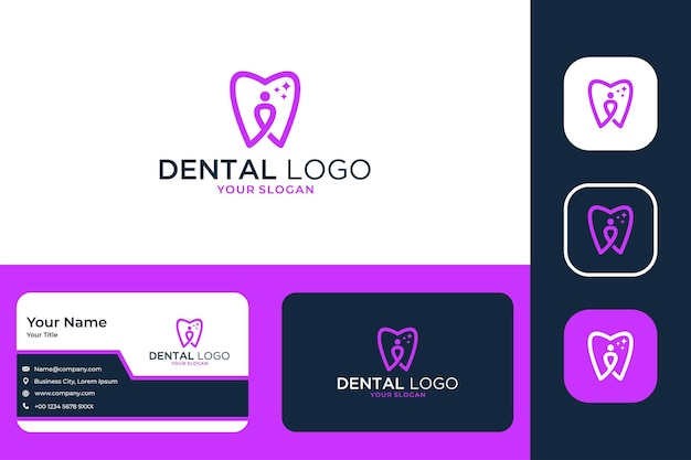 Dental care with people logo design and business card