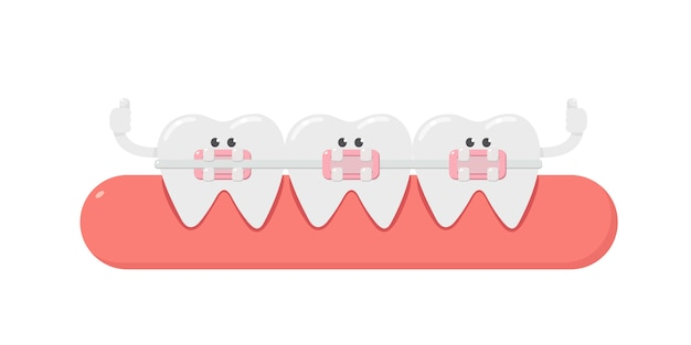 Dental cartoon, tooth, and dental braces. teeth orthodontics. dental care.