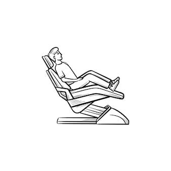 忍耐強い手描きのアウトライン落書きアイコンが付いている歯科用椅子。歯科、口腔病学、歯科検診のコンセプト