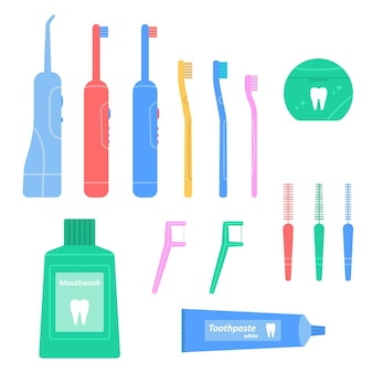Dental cleaning tools set hygiene and oral care flosser irrigator mouthwash toothbrush