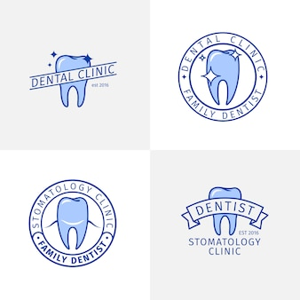 Dental clinic blue outline logo templates set
