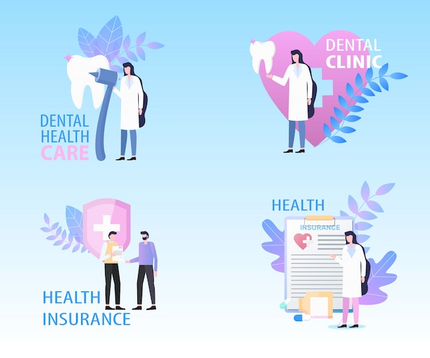 Dental clinic health care insurance banner set vector illustration