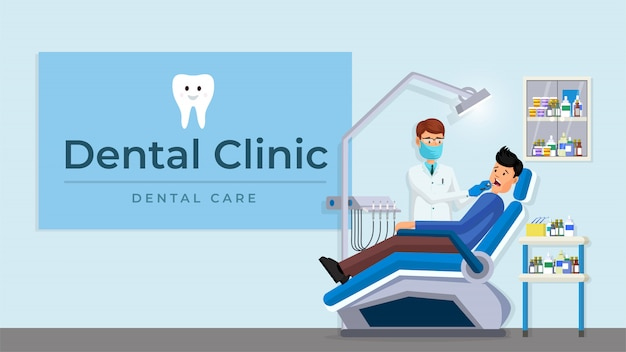 Dental clinic interior set