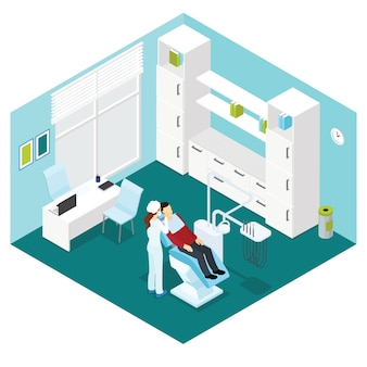 Dental clinic isometric composition