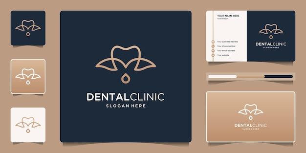 Dental clinic logo design with leaf and droplet logo design with business card.