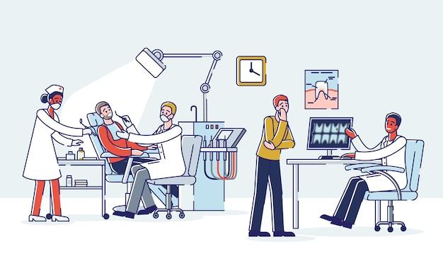 Интерьер офиса стоматологической клиники с мультипликационными стоматологами, исследующими