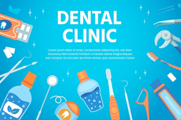 Dental clinic poster with stomatological and teeth hygiene tools. flat banner for dentist cabinet with professional instrument vector design. toothpaste and toothbrush, dental floss and equipment