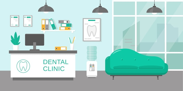 Dental clinic reception room or hospital holl interior
