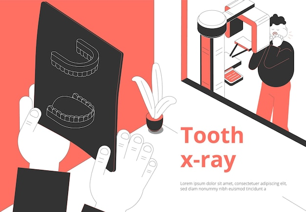 Dental clinic toothache treatment and diagnosis isometric composition with patient waiting xray image examination result